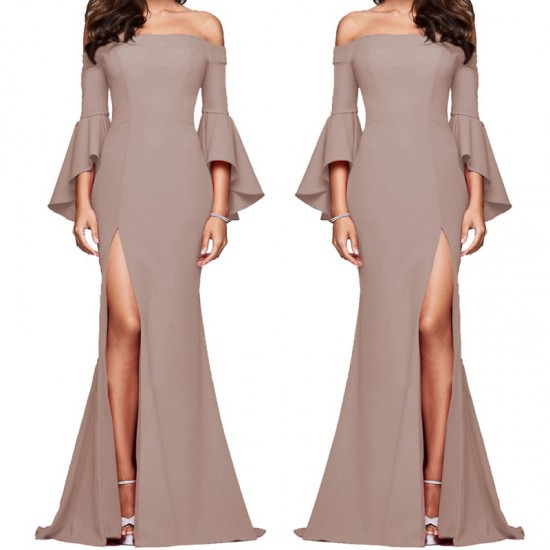 Latest Style Of Sexy Word Collar Split Women Evening Party Dress-Brown image