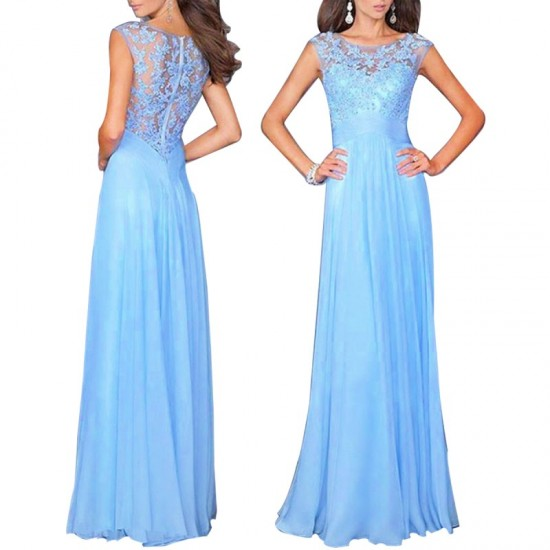 Princess Style Women Long Maxi Evening Party Dress-Light Blue image