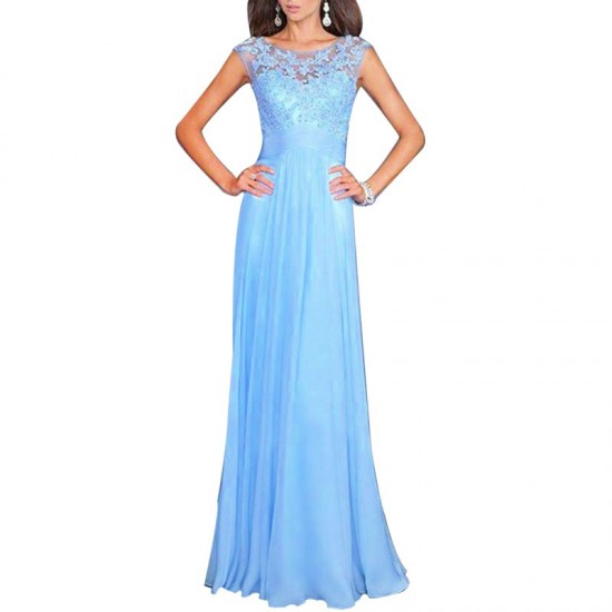 Princess Style Women Long Maxi Evening Party Dress-Light Blue image