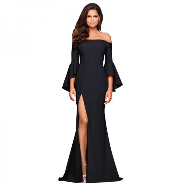 European Style Sexy Word Collar Split Women Black Evening Party Dress image