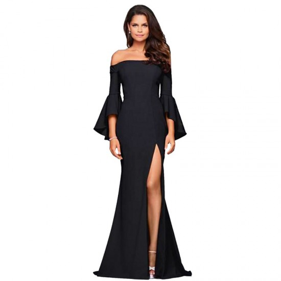Latest Style Of Sexy Word Collar Split Women Evening Party Dress-Black image