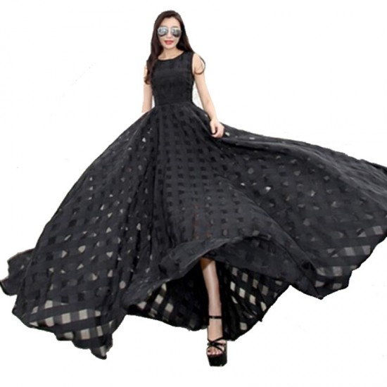 Women Temperament super long organza Beach Long Maxi Dress-Black image