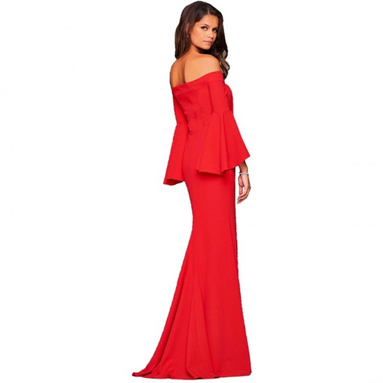Latest Style Of Sexy Word Collar Split Women Evening Party Dress-Red image