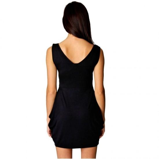 Black hot Elegant v-neck Tulip Shape Evening Party Midi Dress image