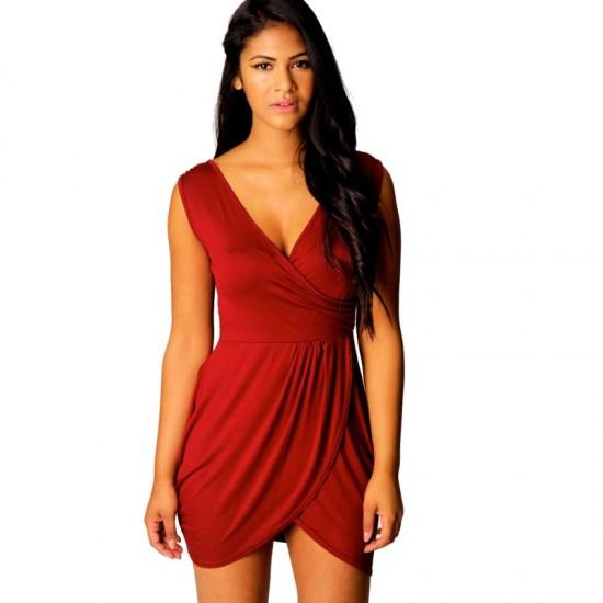 Red hot Elegant v-neck Tulip Shape Evening Party Midi Dress image