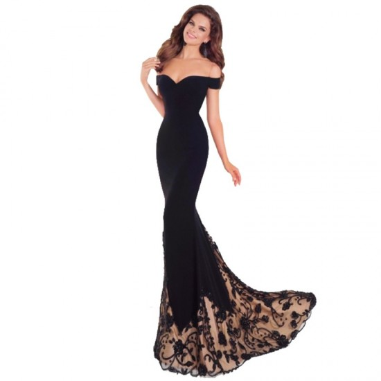 European Design Black Wrapped Chest Strapless Gown Party Dress image
