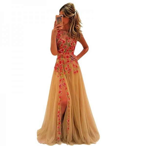 Women Backless Basic Section Embroidery Long Sleeveless Evening Party Gold Dress image