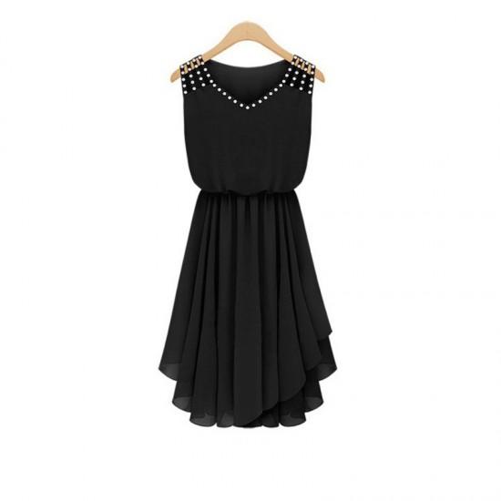 New Style Summer Slim Elegant Diamond Strap Irregular Chiffon Dress-Black image