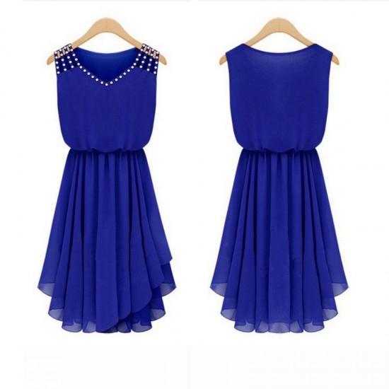 New Style Summer Slim Elegant Diamond Strap Irregular Chiffon Dress-Blue image