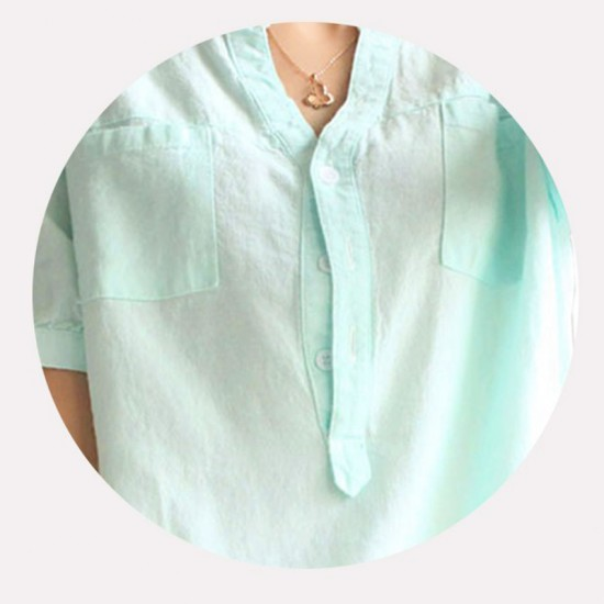 Women Light Green Cotton And Linen Short-sleeved Shirt-Green image