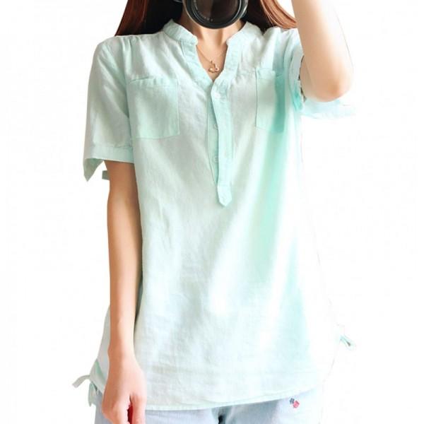 Women Light Green Cotton And Linen Short-sleeved Shirt image