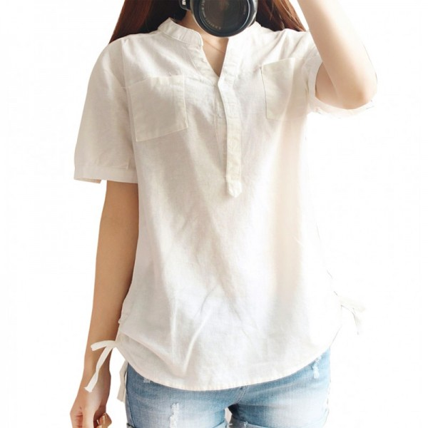 Women White Cotton And Linen Short-sleeved Shirt image