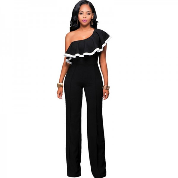 European Style Ladies Summer Black One Shoulder Ruffle Jumpsuit image