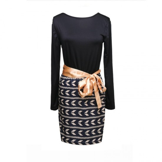 Ladies Hot Top & Stitched Printed Skirt Body con Dress-Black image