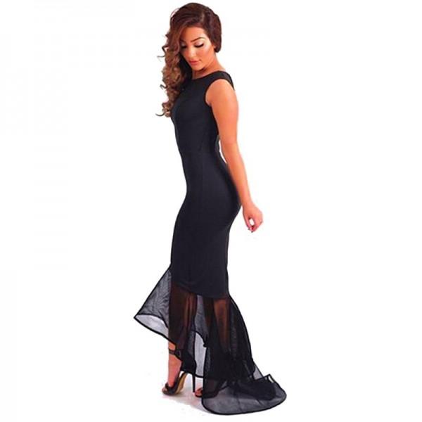 Women Black Mermaid Fishtail Sleeveless Long Party Slim Fitted Hip Dress image
