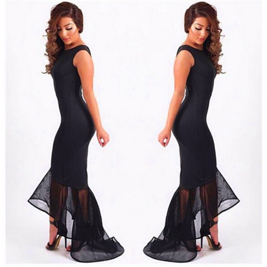 Women Mermaid Fishtail Sleeveless stitching Long Party Slim Fitted Hip-Black image