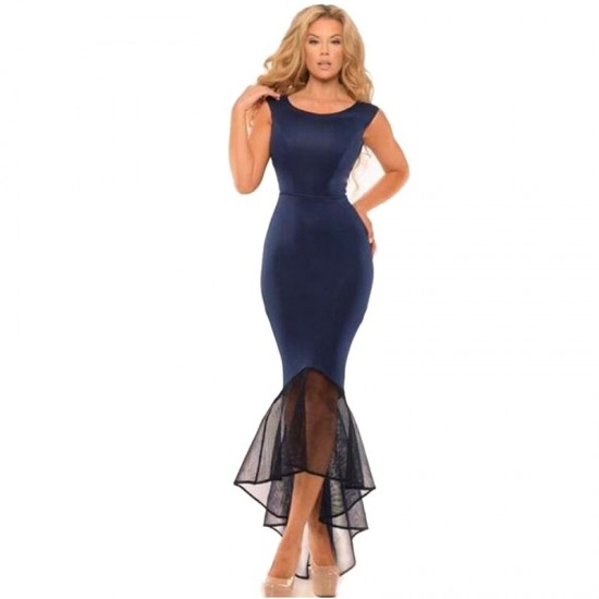 Women Mermaid Fishtail Sleeveless stitching Long Party Slim Fitted Hip-Blue image