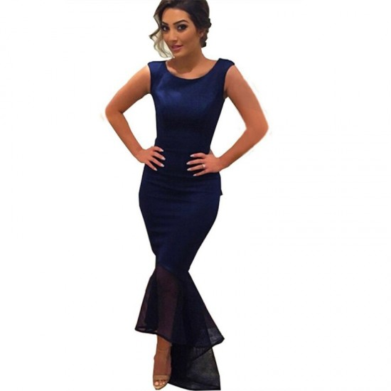 Women Blue Mermaid Fishtail Sleeveless Long Party Slim Fitted Hip Dress image