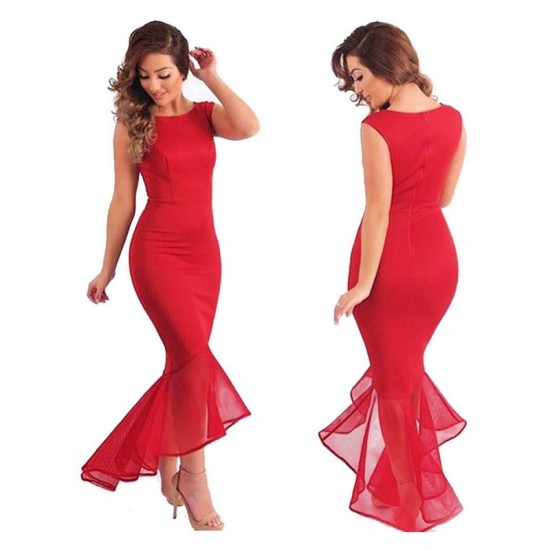 Women Mermaid Fishtail Sleeveless stitching Long Party Slim Fitted Hip-Red image