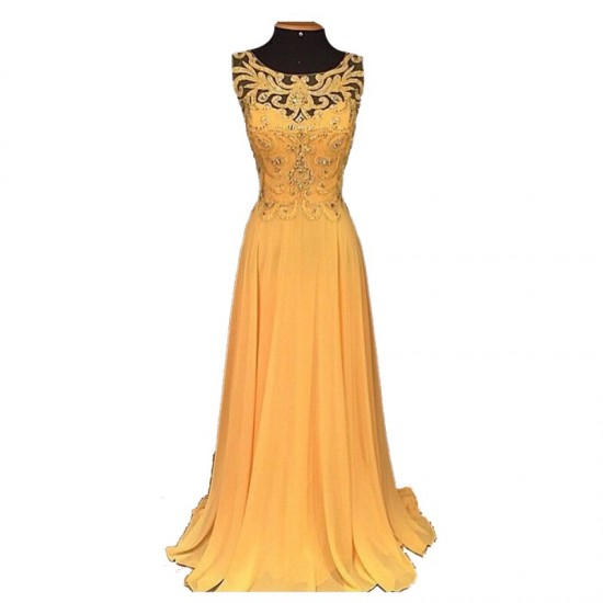 Elegant Long Chiffon Embroidery Beaded Hollow Maxi Ladies Dress-Orange image
