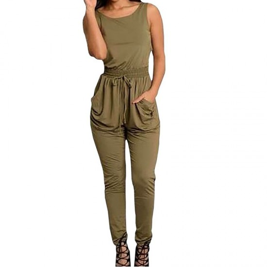 Latest Style Sexy Long Jumpsuit O-Neck Sleeveless Loose Rompers Dress-Green image