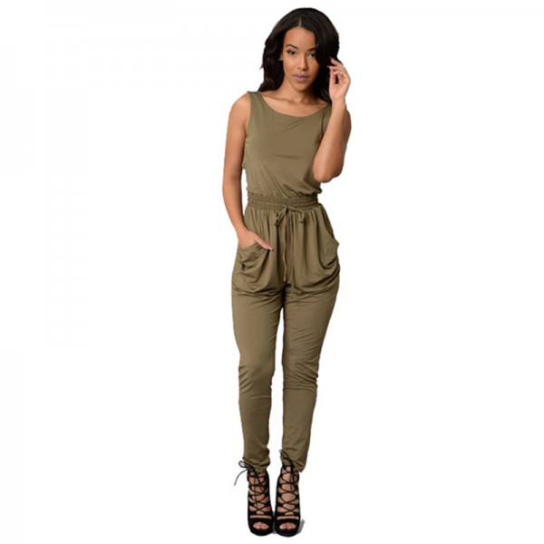 Women Green Sexy Long Jumpsuit O-Neck Sleeveless Loose Rompers Dress image