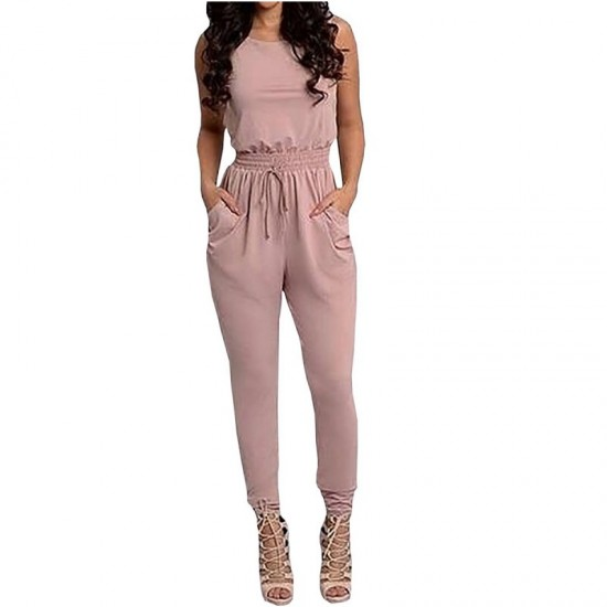 Latest Style Sexy Long Jumpsuit O-Neck Sleeveless Loose Rompers Dress-Pink image