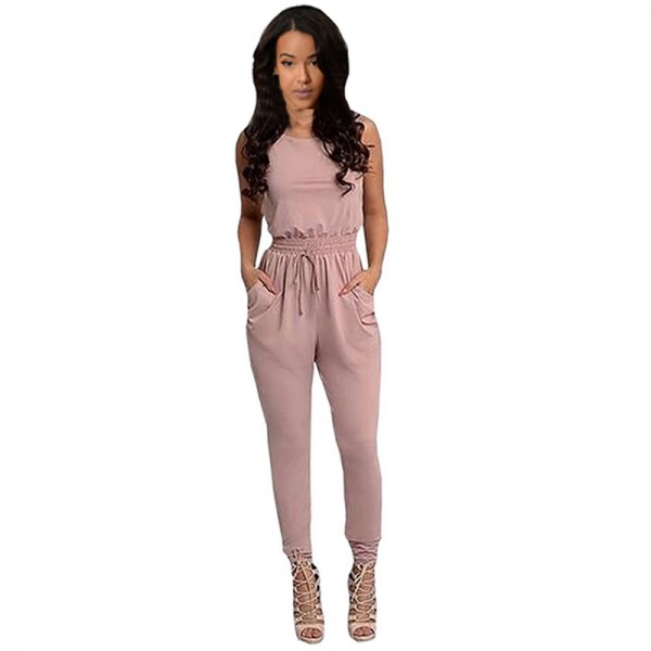 Women Pink Sexy Long Jumpsuit O-Neck Sleeveless Loose Rompers Dress image