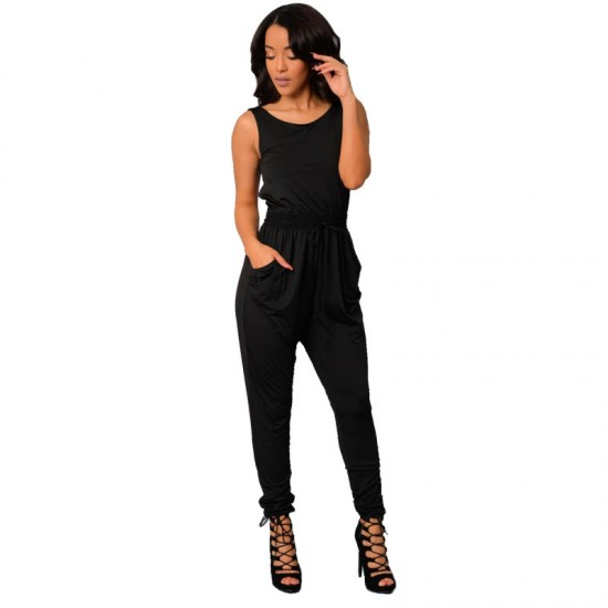Latest Style Sexy Long Jumpsuit O-Neck Sleeveless Loose Rompers Dress-Black image
