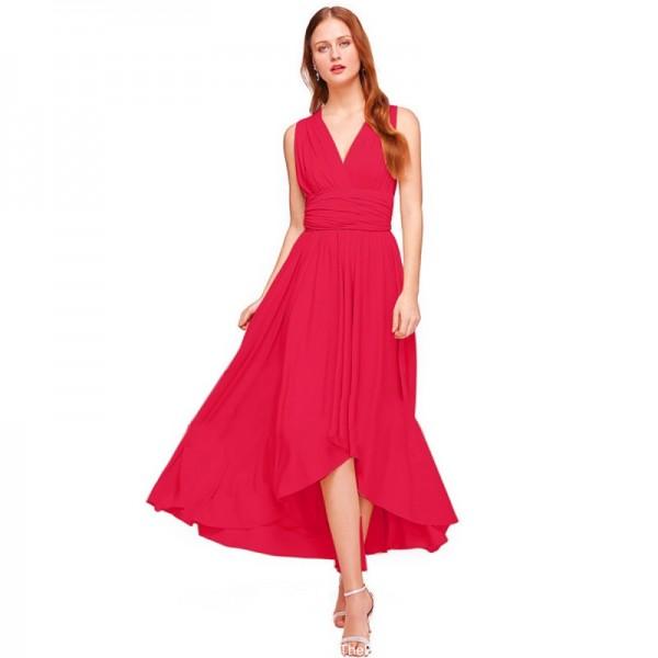 Women Red Summer Elegant Tank Backless High Waist Long Party Dress image