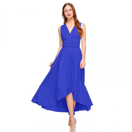 Women Summer Elegant Tank Backless High Waist Long Party Dress-Blue image