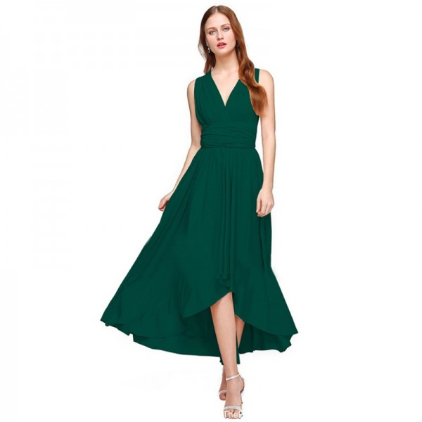 Women Green Summer Elegant Tank Backless High Waist Long Party Dress image