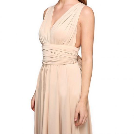 Women Summer Elegant Tank Backless High Waist Long Party Dress-Cream image