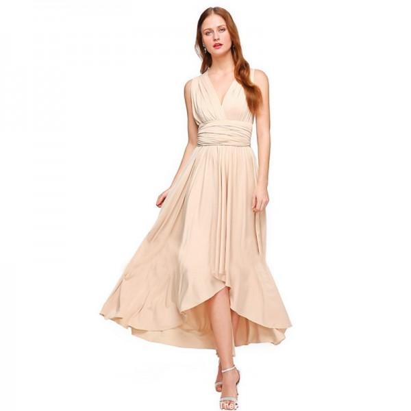 Women Cream Summer Elegant Tank Backless High Waist Long Party Dress image