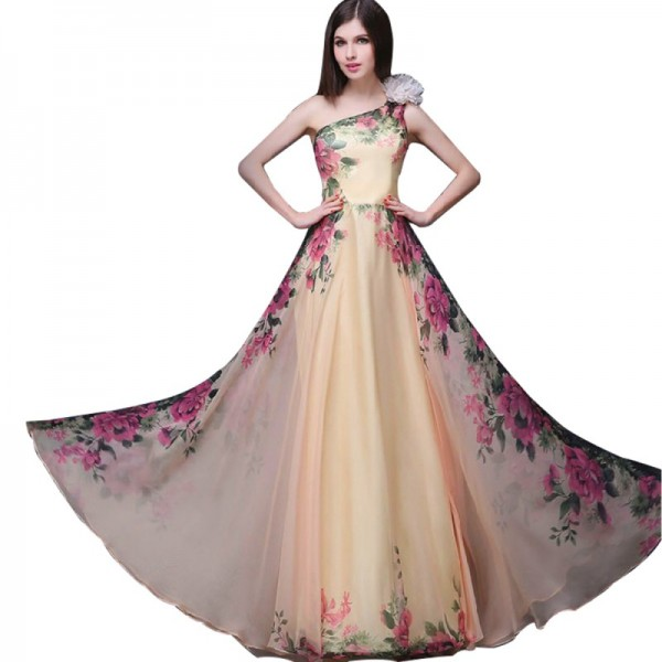Women Stylish Chiffon One-shoulder Floral Printed Cream Colored Sleeveless Evening Dress image