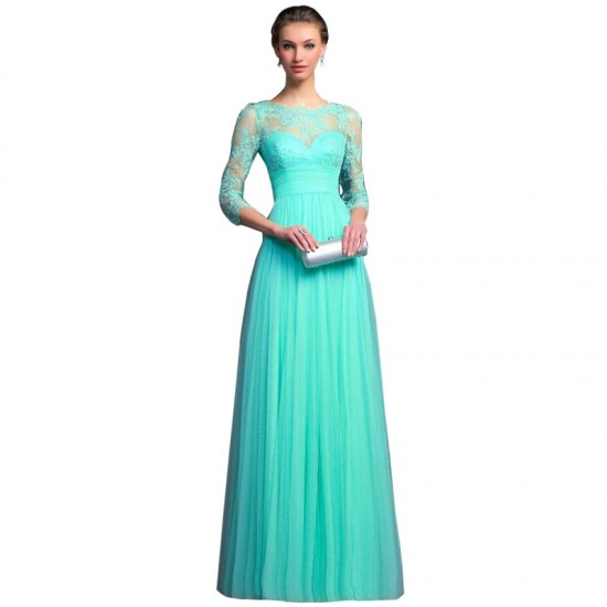 Long Sleeves Chiffon Slim Fit Maxi Evening Gown For Women-Blue image