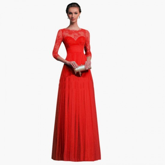 Long Sleeves Chiffon Slim Fit Maxi Evening Gown For Women-Red image