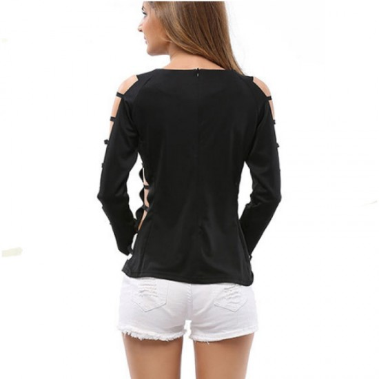 Grid Hole Blouse Women Fashion Long Sleeves Solid Black Color Shirt image