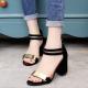 Black Color Open Toed Zipper Sandals For Women image