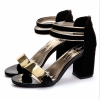 Black Color Open Toed Zipper Sandals For Women image