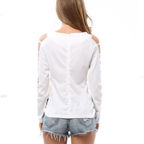 Grid Hole Blouse Women Fashion Long Sleeves Solid White Color Shirt image