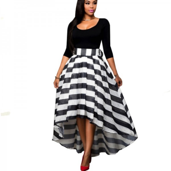Black Color Women Summer Two Pieces Long Sleeves Shirt with Striped Skirt image