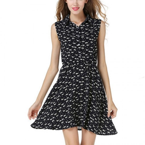 Black Color Women Fashion Sleeveless Cat Printing Loose Skirt image