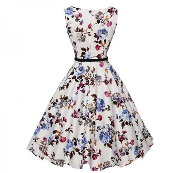 Round Neck Womens Fashion Sleeveless Waist Thin Belt Floral Top image