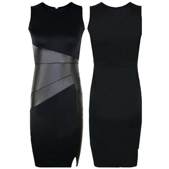 Black Color Women Fashion Formal Skinny Pencil Sleeveless Dress image