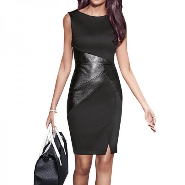 Black Color Women Fashion Formal Skinny Pencil Sleeveless Dress image