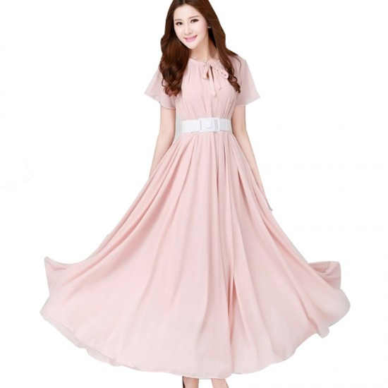 Short Sleeves Bohemian Beach Maxi Chiffon Dress For Women-Pink image