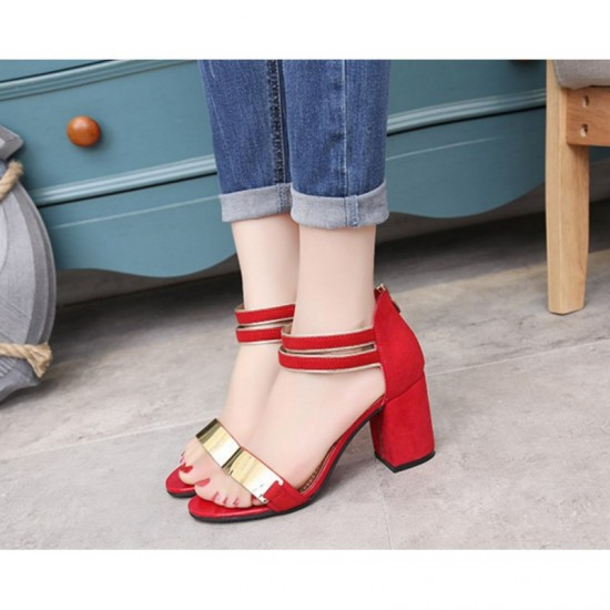 Open Toed Zipper Sandals For Women-Red image