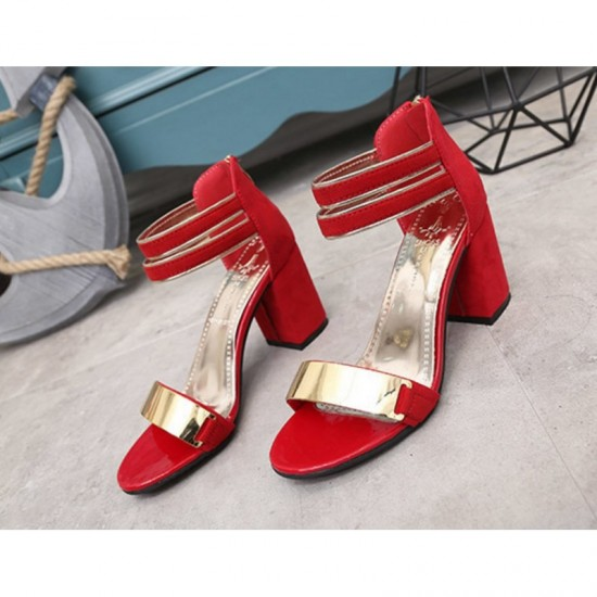 Red Color Open Toed Zipper Sandals For Women image