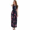 Women Fashion Black Color Digital Printing Sleeveless Maxi Dress image